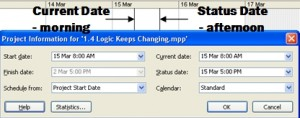 setting current date status dates in microsoft project