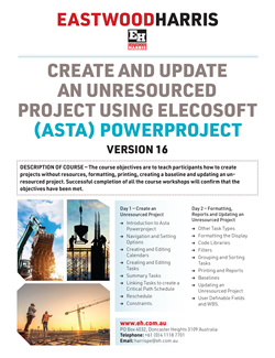 Create and Update an Unresourced Project Using Elecosoft (Asta) Powerproject Version 16